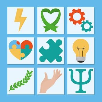Zestaw ikon zdrowia psychicznego