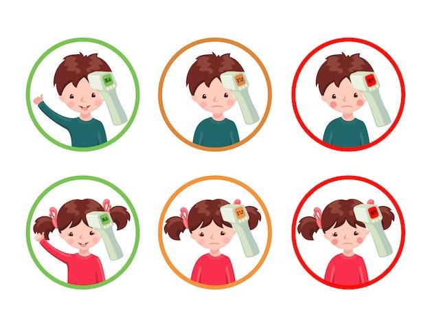 Zestaw ikon ze zdrowymi i chorymi dziewczętami i chłopcami z bezdotykowym termometrem na podczerwień, który pokazuje temperaturę.