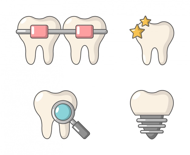 Zestaw ikon zębów. kreskówka zestaw kolekcja ikon wektorowych zębów na białym tle