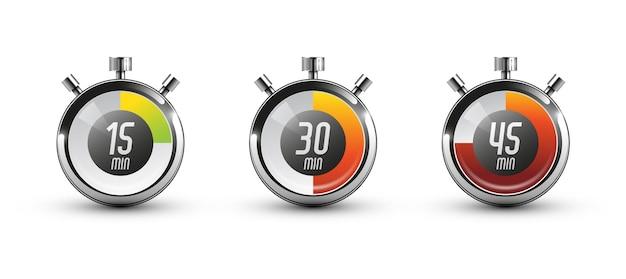 Zestaw ikon zegara. ilustracja wektorowa