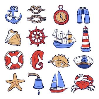 Zestaw ikon żeglarskie