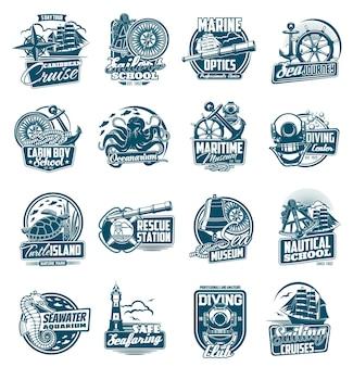 Zestaw ikon żeglarstwa morskiego i podróży morskich.