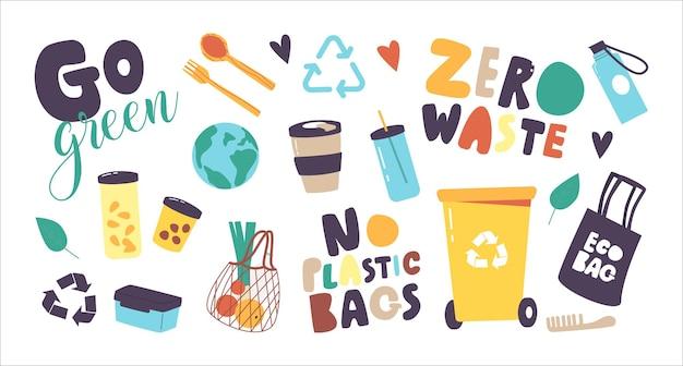 Zestaw ikon zero odpadów, bez motywu z tworzywa sztucznego