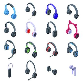 Zestaw ikon zestawu słuchawkowego. izometryczny zestaw ikon wektorowych zestawu słuchawkowego do projektowania stron internetowych na białym tle