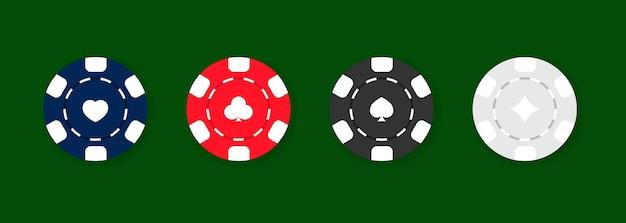 Zestaw ikon żetonów w kasynie