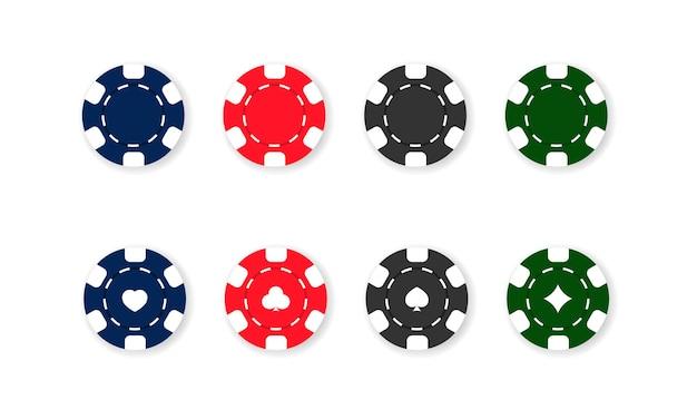 Zestaw ikon żetony kasyna. poker. niebieskie, czerwone, czarne i zielone żetony. wektor na na białym tle. eps 10.