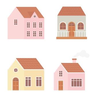 Zestaw ikon zewnętrznych budowy różnych domów nieruchomości