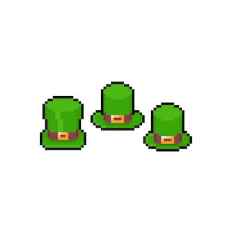 Zestaw ikon zielony kapelusz kreskówka pikseli sztuki.