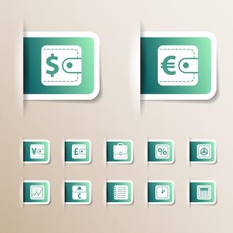 Zestaw ikon zielony pieniądze o różnych rozmiarach z różnymi symbolami i białymi ramkami na białym tle