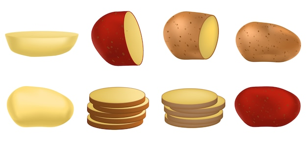 Zestaw ikon ziemniaków, realistyczny styl