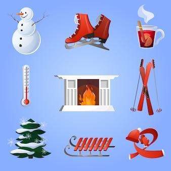 Zestaw ikon zimą