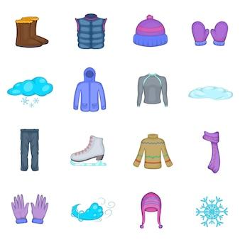 Zestaw ikon zimowe ubrania