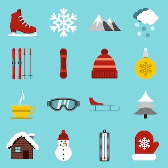 Zestaw ikon zimowych