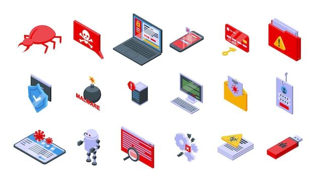 Zestaw ikon złośliwego oprogramowania. izometryczny zestaw ikon wektorowych złośliwego oprogramowania do projektowania stron internetowych na białym tle