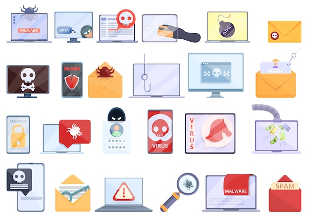 Zestaw ikon złośliwego oprogramowania. kreskówka zestaw ikon złośliwego oprogramowania