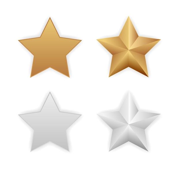 Zestaw ikon złota srebrna metaliczna gwiazda