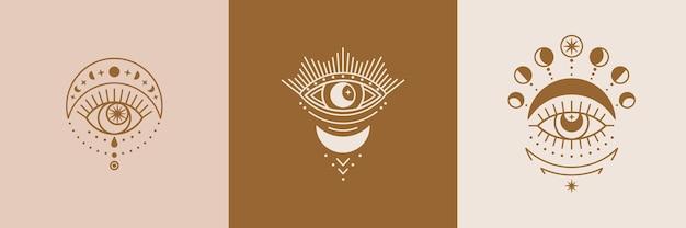 Zestaw ikon złote mistyczne oczy, słońce i księżyc w modnym minimalistycznym stylu liniowym. izoteryczna ilustracja wektorowa na t-shirty, plakaty boho, okładki, projekty logo i tatuaże.