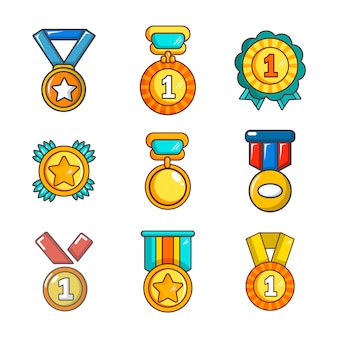 Zestaw ikon złoty medal. kreskówka zestaw złoty medal kolekcja ikon wektor na białym tle