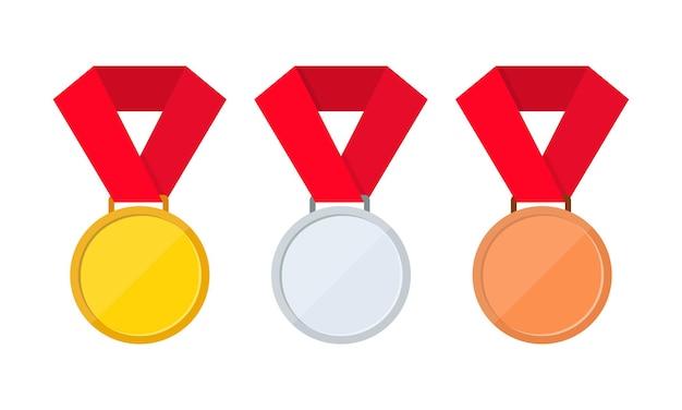 Zestaw ikon złoty, srebrny i brązowy medal. pierwsze, drugie i trzecie miejsce lub ikona przyznawania medali.