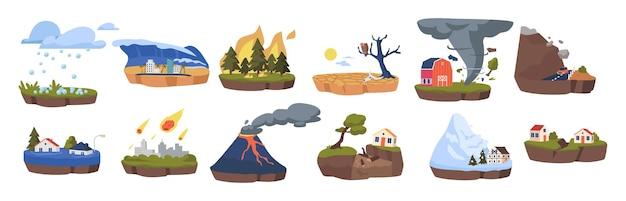 Zestaw ikon zmian klimatu. topniejące lodowce, wylesianie i powodzie, trzęsienie ziemi, deszcz meteorów, tornado i grad. skalny, efekt cieplarniany, pożary lasów i wybuch wulkanu. ilustracja wektorowa