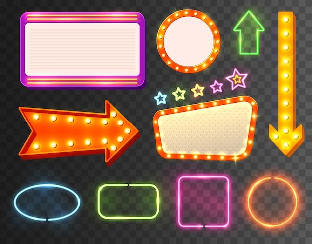 Zestaw ikon znak neon