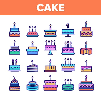 Zestaw ikon znak tort urodzinowy