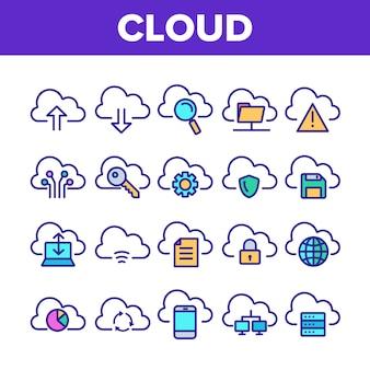 Zestaw ikon znak usługi w chmurze