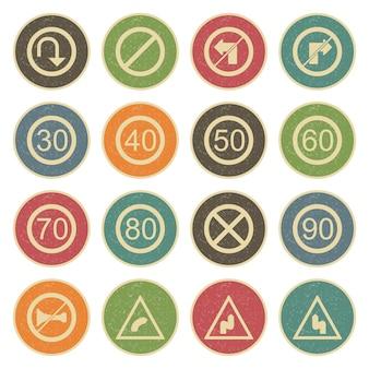 Zestaw ikon znaków drogowych