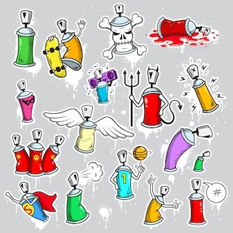Zestaw ikon znaków graffiti