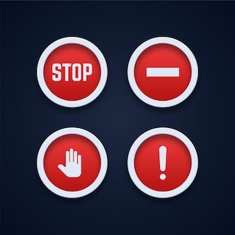 Zestaw ikon znaków ostrzegawczych