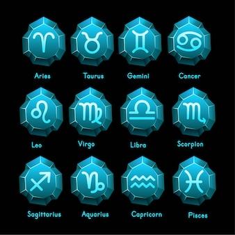 Zestaw ikon znaków zodiaku. baran, byk, bliźnięta, rak, lew, panna, waga, skorpion, strzelec, wodnik, koziorożec, ryby. ilustracja wektorowa w stylu linii kreskówek.