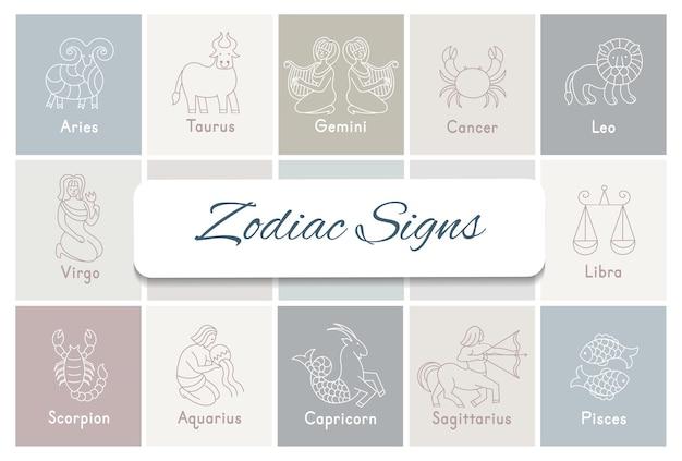Zestaw ikon znaków zodiaku. baran, byk, bliźnięta, rak, lew, panna, waga, skorpion, strzelec, wodnik, koziorożec, ryby. w stylu linii kreskówek.