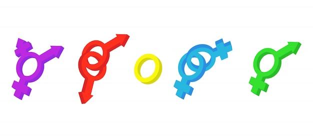 Zestaw ikon znaku płci