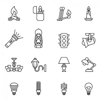 Zestaw ikon źródła światła. styl wektor cienka linia.