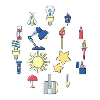 Zestaw ikon źródła światła, stylu cartoon