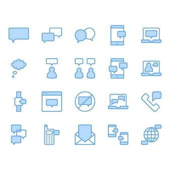 Zestaw ikon związanych z bańki wiadomości i mowy