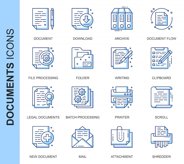 Zestaw ikon związanych z cienką linią dokumentu