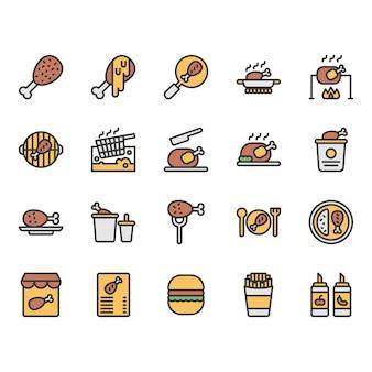 Zestaw ikon związanych z gotowaniem kurczaka i żywności