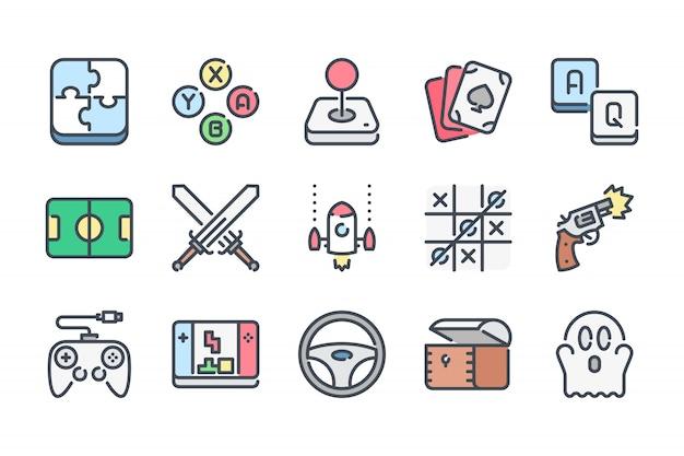 Zestaw ikon związanych z kolorami linii gier wideo.