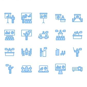 Zestaw ikon związanych z prezentacją i spotkaniem