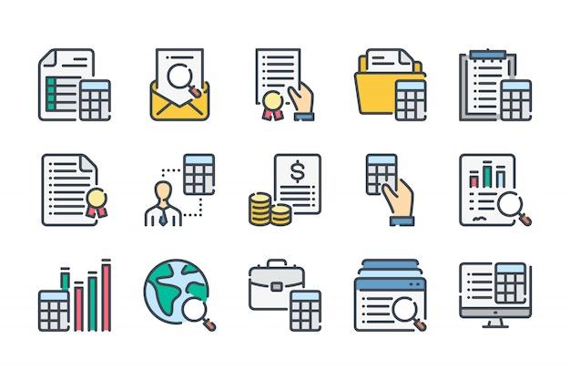 Zestaw ikon związanych z rachunkowości i audytu związanych z kolorową linią.