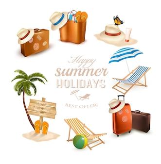 Zestaw ikon związanych z wakacjami. wektor.