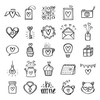 Zestaw ikon związanych z walentynki.