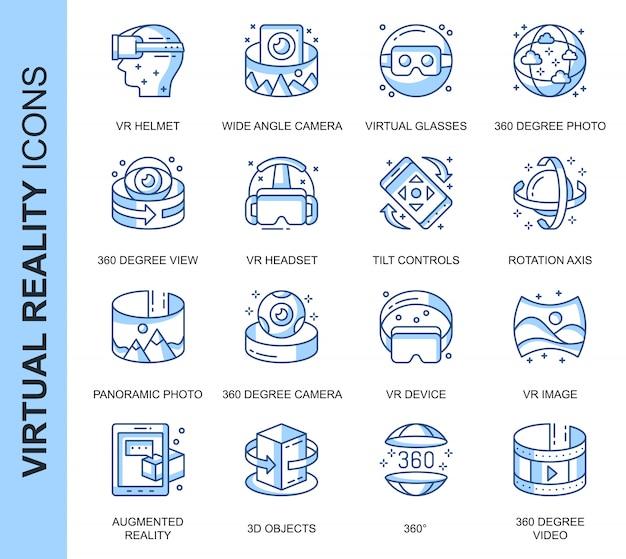 Zestaw ikon związanych z wirtualną rzeczywistością cienkich linii