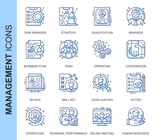 Zestaw ikon związanych z zarządzaniem ludźmi cienkiej linii