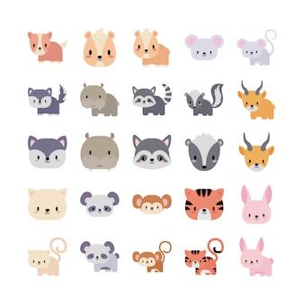 Zestaw ikon zwierząt dziecko kawaii, ikona stylu płaski
