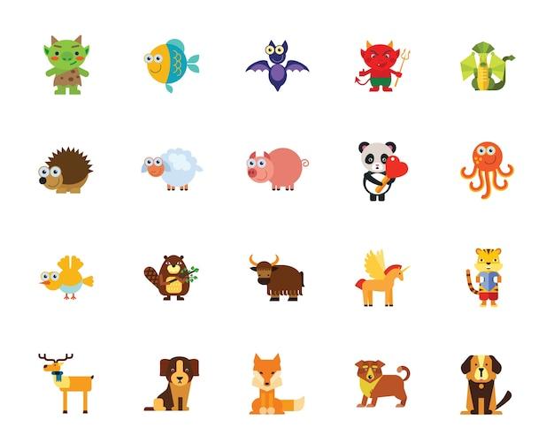 Zestaw ikon zwierząt kreskówek