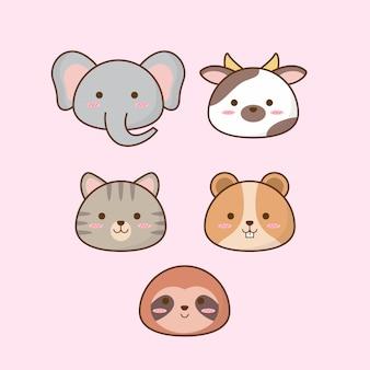 Zestaw ikon zwierząt kreskówki