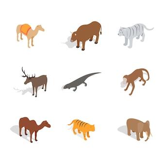 Zestaw ikon zwierząt na białym tle