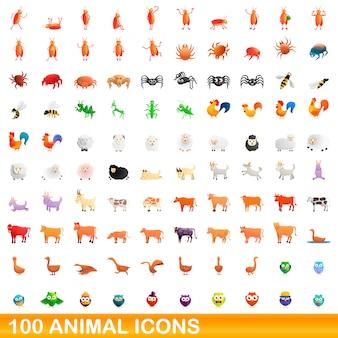 Zestaw ikon zwierząt, stylu cartoon